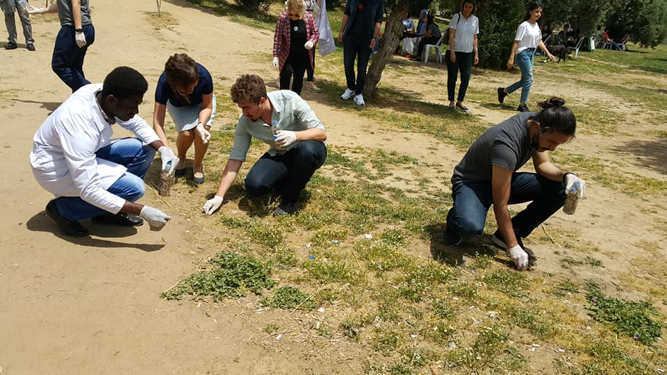 EUPHW medical students collecting cigarette butts in Turkey