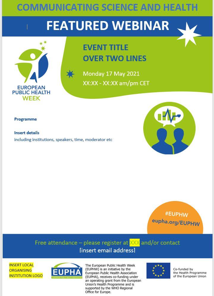 European Public Health Week event programme template